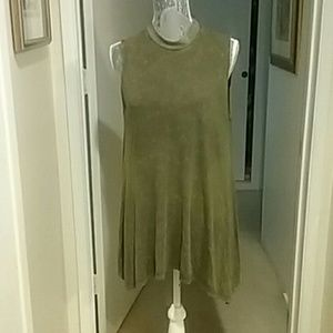 Altar'd State Distressed Olive Green Tunic Top